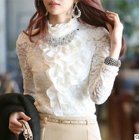 New arrival autumn basic shirt long-sleeve chiffon lace shirt plus velvet thickening handmade beading long t-shirt