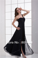 New Elegant 2014 Black  Evening Dresses Single Shoulder  Sweetheart Sleeveless Beaded Bodice Ruched Chiffon  Prom Party Gown