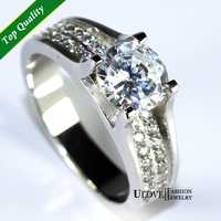 New 2014 Cubic Zircon Simulated Diamond Engagement Rings for Women Wedding Band Crystal Ring 925 Silver Jewelry Ulove Y006