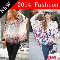Womens clothing New Fashion blouse 2014 Spring Summer Animal print Floral Casual Chiffon Blouses Women Plus Size XXXL XXXXL