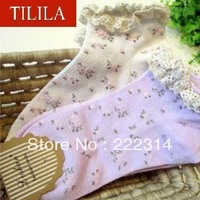 Free shipping!!! 5pairs/lot Lace cotton women cute socks with dot(Random mix send all colors we have) 130