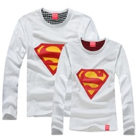 XXXL plus size superman casual couples dress Coupleclothing 2014 shirt t-shirt lovers long-sleeve super man woman Couples shirt