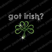 50Pcs/Lot Free Shipping Got Irish Custom Rhinestone Transfer For St. Patrick'S Day Iron On Trimming Hot Fix Motif