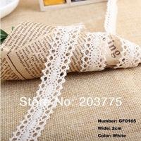 Free shipping new style 100 yards 2cm width in white color beautiful origional wave cotton/cluny lace trim wholesale