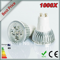 Wholesale - 1000X High Power Dimmable GU10 4x3W 12W Spotlight Lamp 4 CREE LED 110V-240V Light Bulb Downlight Free shipping