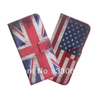 For apple iphone 5 Phone Flip Holster Stand Credit Card USA \UK National flag leather Case 100PCS DHL FREE SHIPPING
