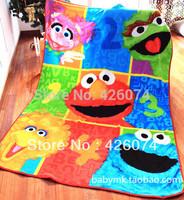 Genuine  Sesame Street  Children Cartoon Large Coral Fleece Fabric Blanket Carpet For Kids