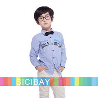 FREE SHIPPING Baby Boy Shirts School Uniform Shirt Striped Long Sleeve Tops K5237