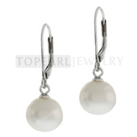 10mm White Shell Pearl 925 Sterling Silver Lever-back Earrings SPE119 Free shipping!