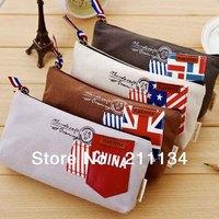 12 Pcs / Lot New Flag Wind Canvas Pencil Bag  Pencil Pouch Pen Case