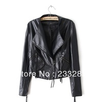 female models o-neck short jacket oblique zipper pocket quilted leather jacket black/beige color thin motobycle jacket LC110