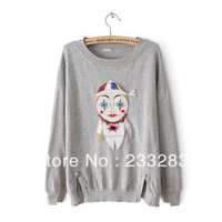 Fall 2013 new Korean version thin pullovers three-dimensional clown mask sequined long-sleeve sweater o-neck wool sweater LS069