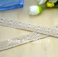 Free Ship 50yards 17mm beige cotton lace ribbon decoration diy headband bow hair garment accessory