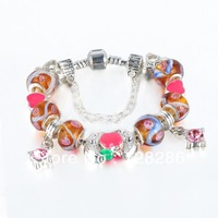FREE Shipping 925 Silver European Charm Bracelet Bangle for Women W/ COLOR Murano Glass Beads Fashion Love DIY Jewelry PAN6-2