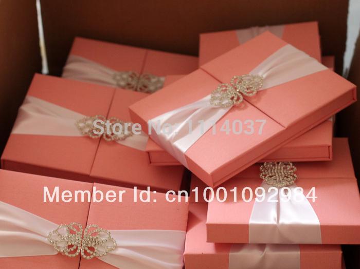 Customized pink thai silk invitation box silk wedding invitation box for wedding(China (Mainland))