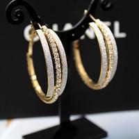 Fashion elegant earrings fashion scrub full rhinestone big hoop earrings large circle