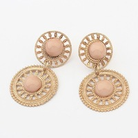 2014 New European and American Style Women Fashion High Quality Hollow Round Apricot Resin Water Drop Earrings Free Ship #98578