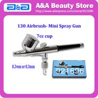 Model 130 New 0.3mm or 0.2mm Mini Spray Gun DUAL ACTION Airbrush Kit 7CC Cup