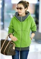 HOT 2014 The new female cardigan sweater Korean women thick coat zipper hooded jacket Hoodies  Sweatshirts