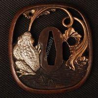 Details about Samurai sword Japanese katana wakizashi nice gold& silver tsuba hand guard 029