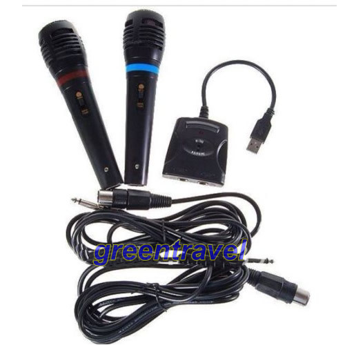 Free shipping 5IN1 Wired Karaoke 2 Microphone Mic set For PS2 PS3 XBOX360 PC Nintendo Wii Rock New(China (Mainland))