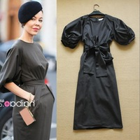 New Designer Fashion Classic Ladies Puff Sleeve Vintage Elegant  Mid-calf Black Dresses Belted F15612
