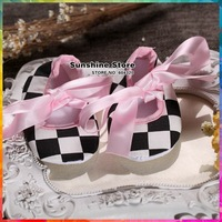 Black and White checker chequered chiffon infant moccasins  Baby Ballerina Crib polo booties fabric shoes #2B2089  3 pair/lot