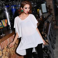 2014 fashion sexy lace irregular batwing sleeve chiffon t-shirt