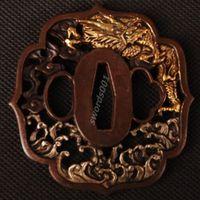 Details about Samurai sword Japanese katana wakizashi nice gold& silver tsuba hand guard 010