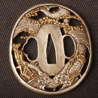 Details about Samurai sword Japanese katana wakizashi nice gold& silver tsuba hand guard 031