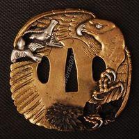 Details about Samurai sword Japanese katana wakizashi nice gold& silver tsuba hand guard 028