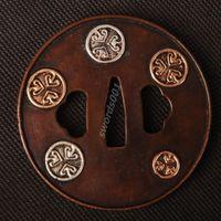 Details about Samurai sword Japanese katana wakizashi nice gold& silver tsuba hand guard 034