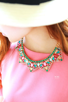 New 2014 spring Fashion summer wild color acrylic women jewelry necklace short clavicle chain necklace collar free shipping