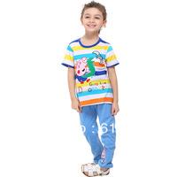 FREE SHIPPING 18m/6y 5pcs/lot Nova 2014 kids tops cotton summer peppa pig Baby Boy T-shirt stripes short sleeve t shirts C4400