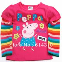 FREE SHIPPING F4098# Kids wear 18m-6yrs baby girl peppa pig long sleeve embroidery tunic top t-shirt