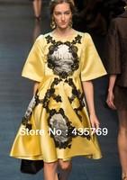 Free Shipping 2014 Runway Stunning Yellow Digital Printed Silk Dress womes clothes dress