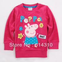 FREE SHIPPING F4275# 18m/6y NOVA kids wear 2013 girl's fashion Spring clothing applique peppa pig baby girl long sleeve T-shirts