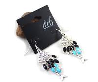 Min order $10 free shipping fashion accessories fashion silver blue black small fish earring ht