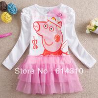 FREE SHIPPING 18m/6y Nova girls dress kids peppa pig 2014 new fashion full sleeves dress baby girls lovely lace dresses H4372