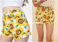 2014 New Women Pants Beach Elastic Water Wash Sunflower Print High Waist Fashion Shorts Womans Floral Denim Plus Size Wholesale