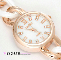 2014 spring summer new 18k sliver/gold plating bracelet ceramic watch ladies women dress rhinestone watch fashion quartz watch