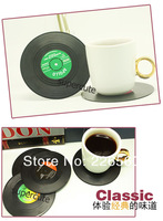 Free Shipping 6Pieces/Set Spinning Retro Vinyl Record Drinks Coasters / Vinyl Coaster Cup Mat