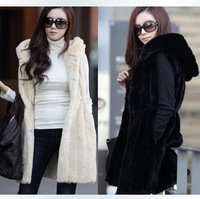 2014 Sale Hot Sale Adjustable Waist Long Solid Winter Jacket Women Women's Faux Medium-long Rabbit Velvet Coat Overcoat Vest