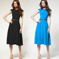 Free shipping cheap plus size women dresses new fashion 2014 european vintage ol short sleeve mid-calf casual dress