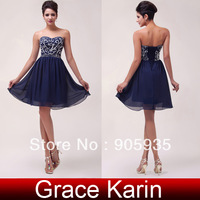 Fast Delivery! Grace Karin Sexy Navy Blue Short Chiffon Cocktail and Party Beaded and Sequins Dress CL6049