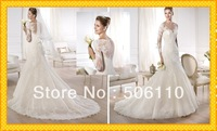 Charming Sheer high Neckline Straps with Lace Sexy Mermaid Pleated Long White  2014 Wedding Dress Bridal Dresses Gowns 2014