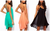 Promotions!! New Fashion Women Backless Sling Strap Mini Dress Sleeveless Pure Color Chiffon Sexy Ladies Dress Party Beach Dress