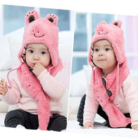 Kids Baby Children Cute Frog Hat+Scarf 2 Pcs Set Cashmere Animal Cap 1-6 Years free shipping Drop shipping