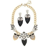 Free Shipping Crystal Brunet Department Statement Necklace Drama with Earring