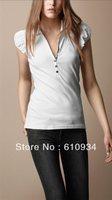 2014 New Free Shipping Women Spring Short Sleeve Turn Down Collar T Shirt, Lady Brand Cotton Solid Slim T Shirt S-XL #b005